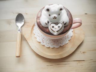 Adorable latte art 3d design.