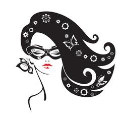 Black and white illustration of elegant woman