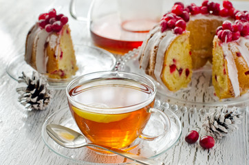 Cup of tea with Homemade glazed cranberry cake