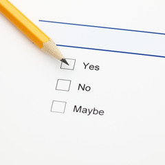 Survey: yes, no, maybe