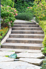 outdoor stairs in the garden
