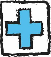 doodle grunge blue cross