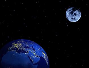 Earth, moon, stars in night sky