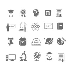 Black and white silhouette school  education icons on  vector