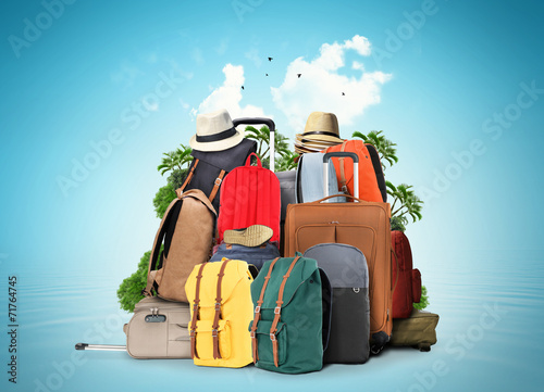 canvas print picture Bag, large baggage tourists from backpacks and suitcases