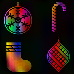 Christmas set New Year traditional glow symbols collection