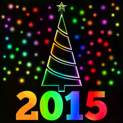 Glowing Christmas tree and lights card, New Year 2015 text