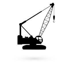 Black icons stencil hoisting crane. Raster