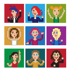 Set of dancing pixel girls avatar