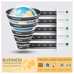Global Road And Street For Travel And Journey Business Infograph