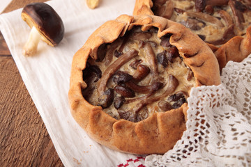 Rye pies with mushrooms and onions