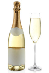 Bottle and glass of champagne, isolated on white
