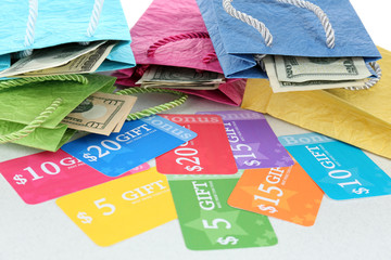 Set of coupons for shopping to save money, close-up