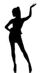silhouette of young beautiful lady on white