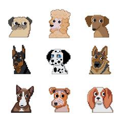 Set of pixel dogs