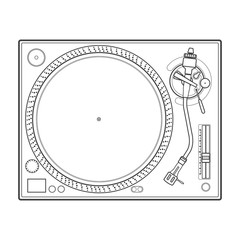 vector outline vinyl dj turntable