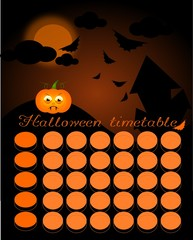 Halloween timetable