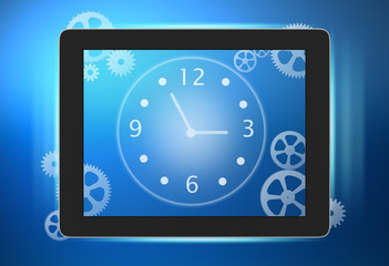 tablet with a clock and gears on the screen.