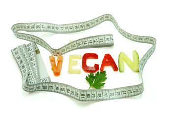 vegan composed of slices of different vegetables