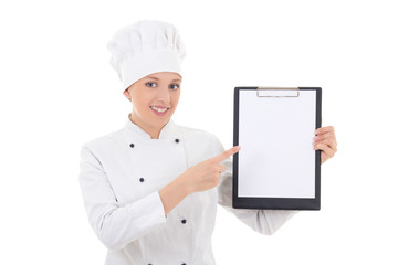 young woman in chef uniform holding clipboard with blank paper i