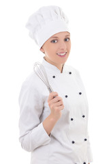 young happy woman in chef uniform holding whisk isolated on whit