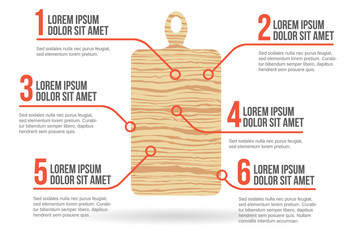 Kitchen cutting board, infographic vector illustration