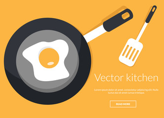 Fried egg on pan conceptual vector illustration