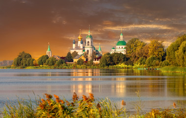 View of Spaso-Yakovlevsky Monastery in Rostov  on a sunset