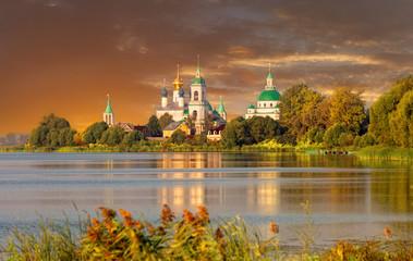 View of Spaso-Yakovlevsky Monastery in Rostov  on a sunset