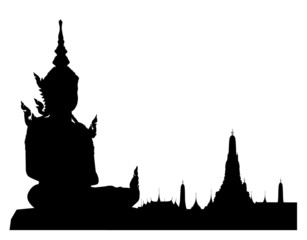 Silhouetted of buddha sculpture with wat arun,Thailand