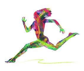 silhouette astratta di donna che corre