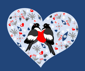 Holiday card with bullfinches in love on blue background. Valent