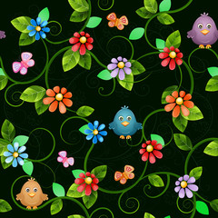 Floral seamless pattern with birds and butterflies.