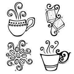 Vector Set of Decorative Cup of Coffee with Steam
