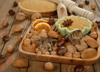 Nuts, spices and sugar