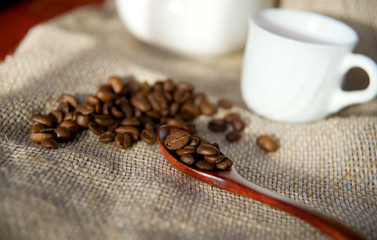 Coffee beans on canvas background in the ray of sun
