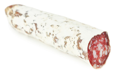 Italian salami  isolated on white
