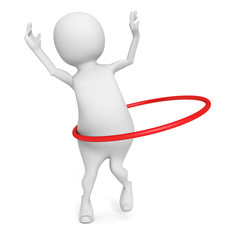 3d man plays hula hoop exercise on white background