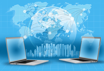 laptops, globe and world map. skyscrapers on blue background.