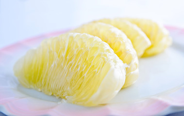 The Pomelo fruit on dish