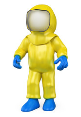 3D white people. Isolation suit. Biohazard