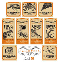 Funny vintage Halloween apothecary labels - set 01 (vector)