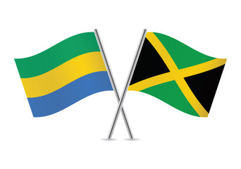 Gabon and Jamaican flags. Vector illustration.