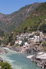 Devprayag and river Ganga. Uttarakhand, India.