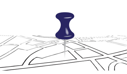 Street map and office pin