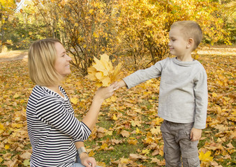 boy gives mom autumn leaves