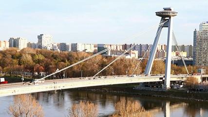 SNP bridge (UFO bridge) in Bratislava, Slovakia