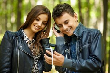 Teenagers listening music