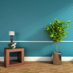 blue interior with plant and lamp. 3D illustration