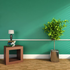 green interior with plant and lamp. 3D illustration